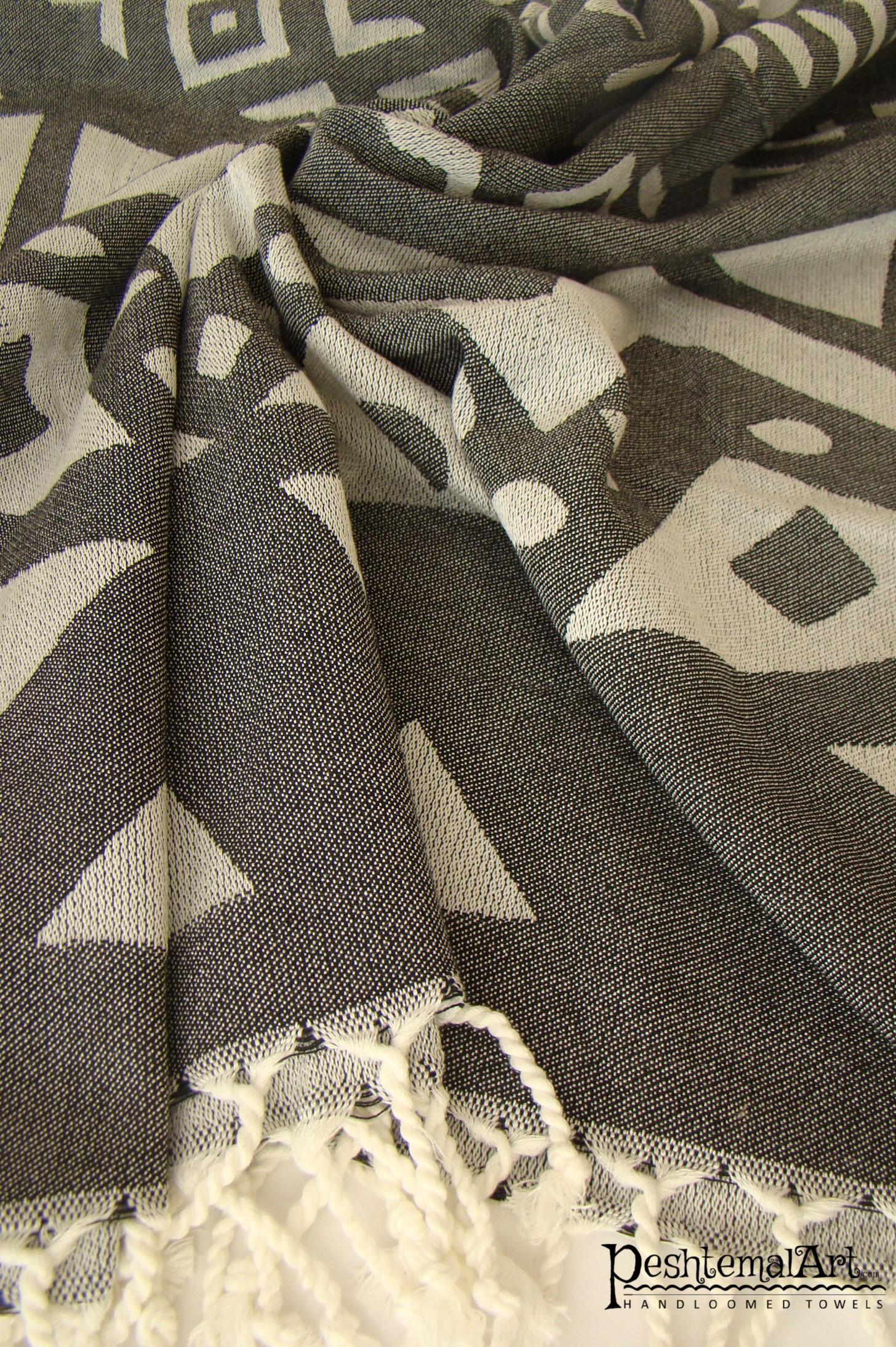 Black Jacquard Beach Towel
